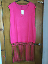Sexy Pink fringed beach dress/cover up - PLUS SIZE 22 - BNWT - kaftan/tassle
