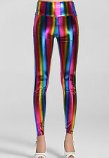 New rainbow metallic leggings club wear fancy dress leggings festival size 10-12