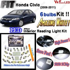 6 Bulbs LED Interior Light Kit Super Bright White Lamp For Honda Civic 2006-2011