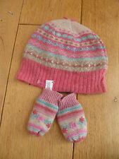 MONSOON ACCESSORIZE BABY WOOL ANGORA PINK FAIRISLE BEANIE HAT MITTENS 0 12 MO