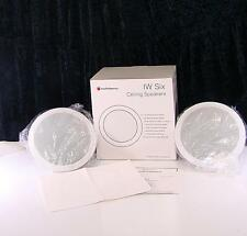 1 PAIR NIB IW SIX AUDIOSOURCE ROUND CEILING / IN-WALL LOUD SPEAKERS HOUSE TUNES