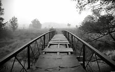 Large Framed Print - Black & White Dilapidated Old Foot Bridge (Picture Poster)