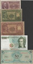 Italy , 5 , 50 (2) ,100 & 5000 Lire . 5 notes lot # 008 , Circulated Banknotes
