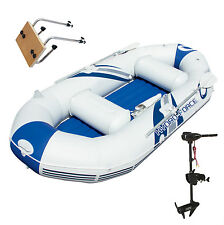 Bestway Hydro-Force Marine Pro Inflatable Boat / Raft with Motor Mount & Motor