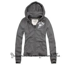 NEW ABERCROMBIE & FITCH FULL A&F ZIP HOODIE JACKET WOMEN Laura Shine H. Grey XS
