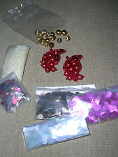 John Lewis sew on PINK CLEAR BROWN SEQUINS gold balls beads glitter red grapes