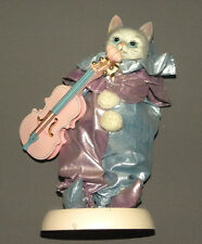 Vintage Dressed Clown Dancing Cat Music Box with Porcelain Head, Hands, Violin