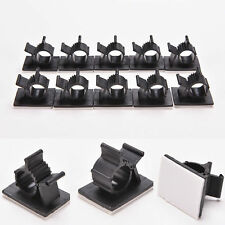 10x Cable Clips Adhesive Cord Management Black Wire Holder Organizer Clamp NEW