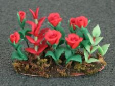Red Roses In Earth, Doll House Miniature Garden Flowers, 1.12th Scale