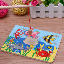 Magnetic Fishing Game 3D Jigsaw Puzzle Board Children Kid Educational Wooden Toy
