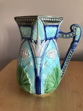 Water Lilly Pitcher Handpainted Classic Majolica Pottery Henriksen Imports NICE!