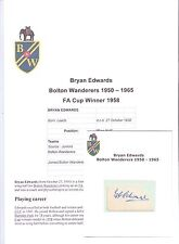 BRYAN EDWARDS BOLTON WANDERERS 1950-1965 ORIGINAL HAND SIGNED CUTTING/CARD