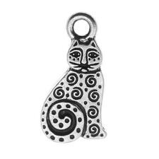 Fine Silver Plated Pewter Art Spiral Cat Charm 19mm (1)