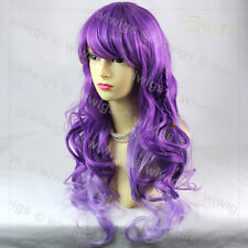 Lovely Long Curly Wavy Braid Purple mix Ladies Wigs Cosplay Party Hair WIWIGS UK