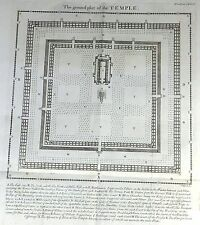 """Temple of Ancient Israel - """"GROUND PLOT OF THE TEMPLE"""" - Copper Engraving - 1762"""