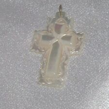ANTIQUE BETHLEHEM SIGNED CARVED MOTHER OF PEARL INTRICATE CROSS  PENDANT CHARM