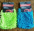 Microfiber Car Wash Cleaning Mitt Glove Blue Lime Green Easy to wash & dry NEW
