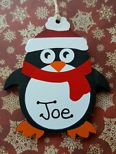 Hand made personalised penguin christmas bauble