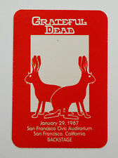 Grateful Dead Backstage Pass Chinese New Year of the Hare Rabbits Ca 1/29/1987