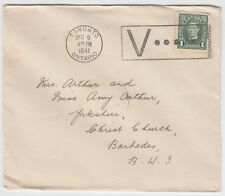 1c printed matter Xmas Card to ** BARBADOS ** BWI 1941 Canada cover