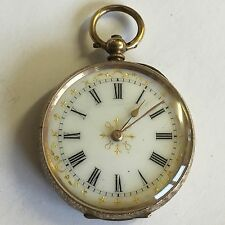 Antique 9ct Solid Gold Ladies Pocket Watch Not Working A/F For Spares / Repair