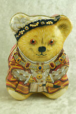 "Rare King Henry VIII Figural Teddy Bear Tin Box Historic Royal Palaces-5.5"" Tall"