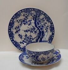 Cherry Blossom Tree Blue and White Porcelain Teacup Saucer Plate Signed Vintage