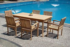 "Leveb Grade-A Teak 7pc Dining 71"" Rectangle Table 6 Stacking Arm Chair Patio Set"