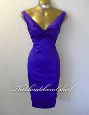 Julien Macdonald 50s Style Diva Wiggle Pinup Satin Cocktail Party Dress UK14