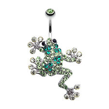 Sparkle Leaping Frog Belly Navel Button Ring Green 14G