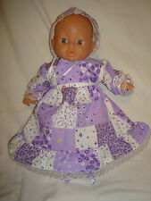 """Lilac Squares Dress,Bonnet, Booties 1st Baby Annabell /Little Born 12/14"""""""