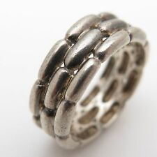 Vintage Thailand 925 Sterling Silver Weave Pattern Band Ring Size 7 (5.3g)