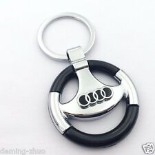 Car logo Metal Steering Wheel Key Chain Key Ring Keychain for Audi Free Shipping