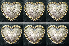 """Set of 6 HEADSTALL ANTQIUE HEART GOLD BERRY SADDLE CONCHOS 1-1/2"""""""