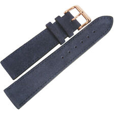 20mm Fluco Blue Suede Leather ROSE GOLD Buckle German Made Watch Band Strap