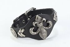 Black Leather Studded Anchor Wristband Bangle Buckle Closure Men's Bracelet NEW
