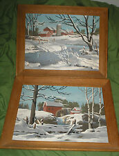 Vintage 1960s 2 PBN Paint By Number Pair Snow Old Mill Farm Creek Scene NICE