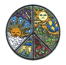 PEACE SIGN by dan morris EMBROIDERED IRON-ON PATCH **FREE SHIPPING** sun earth