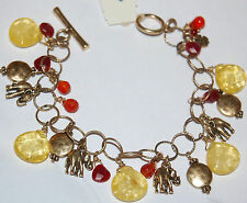 NWT Lucky Brand Gold Metal Elephant Charms & Yellow & Orange Beaded Bracelet