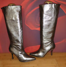 *1* SUPERB RAVEL SILVER BRONZE LEATHER  POINTY  BOOTS  EU 40