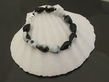 "8"" (20cms) Striking Black/White Fire Agate Bracelet with Sterling Silver Clasp"