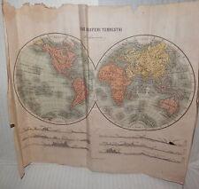 I DUE EMISFERI TERRESTRI Vallardi 1930 Dimensioni 30x37 cm Carta geografica di e
