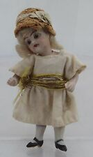 "ANTIQUE MINIATURE 3.5"" BISQUE GERMAN DOLLS HOUSE DOLL MARKED '8'"