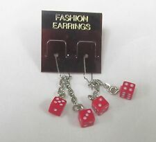 RED DOUBLE DICE EARRINGS , DANGLE STYLE