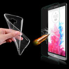 Ultra Thin 0.3mm Clear Gel Case Cover + Genuine Tempered Glass For Mobile Phones