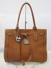 DOONEY & BOURKE EAST/WEST BROWN LEATHER TOTE OR SATCHEL STYLE BAG HANDBAG PURSE