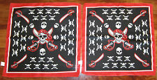 2 NEW PIRATE BANDANAS SKULL AND CROSSBONES JOLLY ROGER HANDKERCHIEF PARTY FAVOR