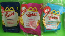 "3 McDonald's Barbie Dolls 4.5"" #1 Teen Skipper #2 #3 Eatin' Fun Kelly1998 New"
