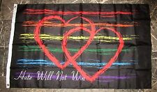 3x5 Hate Will Not Win Two Hearts Gay Pride Rainbow Flag 3'x5' Banner Grommets