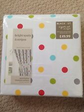 NEW Dunelm Blackout Curtains & Tie Backs Spotty White Red Blue Green Girls Boys